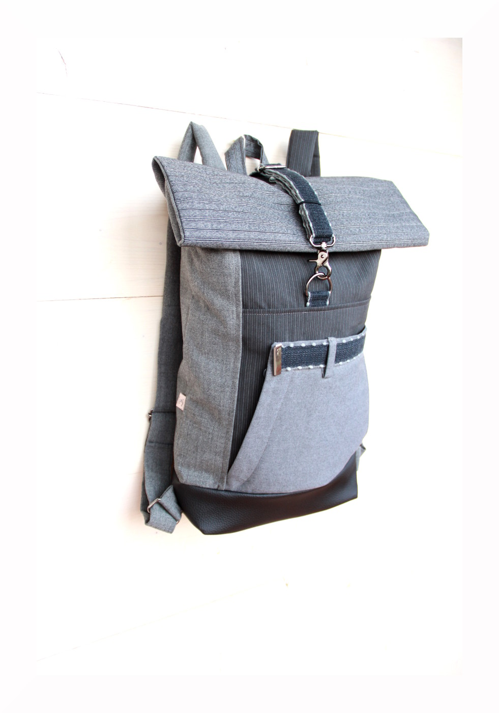 new specials exquisite design fast delivery Gray upcycled rolltop rucksack using front part of a men's ...